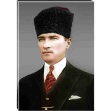Kanvas Sivil Kalpaklı Atatürk Tablosu Renkli Atatürk Portresi Atatrap10d
