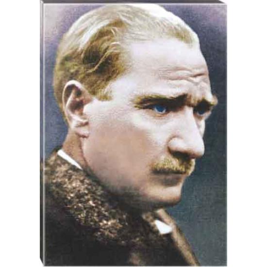 Kanvas Atatürk Tablosu Yandan Renkli Atatürk Profil Portresi Atatrap11d