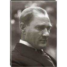 Kanvas Atatürk Tablosu Yandan Siyah-Beyaz Atatürk Profil Portresi Atatrap12d