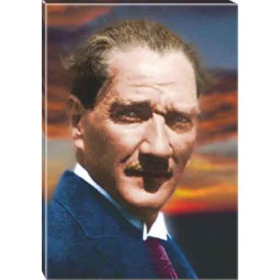 Kanvas Dağınık Saçlı Atatürk Tablosu Renkli Atatürk Portresi Atatrap15d
