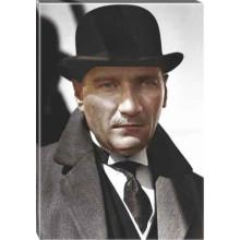 Kanvas Melon Şapkalı Atatürk Tablosu Siyah-Beyaz-Renkli Atatürk Portresi Atatrap16d