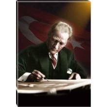 Kanvas Masa Başında Yazı Yazan Atatürk Tablosu Bayraklı Renkli Atatürk Portresi Atatrap17d