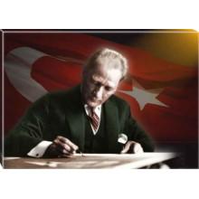 Kanvas Masa Başında Yazı Yazan Atatürk Tablosu Bayraklı Renkli Atatürk Portresi Atatrap18y