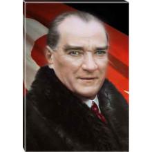 Kanvas Kürklü Atatürk Tablosu Bayraklı Renkli Atatürk Portresi Atatrap21d