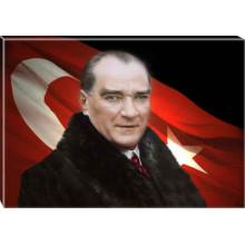 Kanvas Kürklü Atatürk Tablosu Bayraklı Renkli Atatürk Portresi Atatrap22y