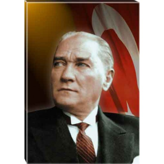 Kanvas Atatürk Tablosu Bayraklı Renkli Atatürk Portresi Atatrap23d