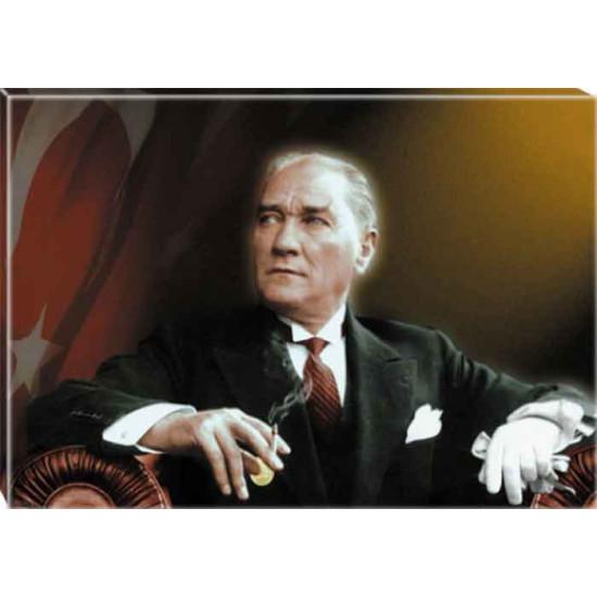 Kanvas Atatürk Tablosu Bayraklı Renkli Atatürk Portresi Atatrap24y