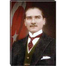 Kanvas Atatürk Tablosu Bayraklı Renkli Atatürk Portresi Atatrap25d