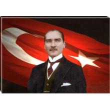Kanvas Atatürk Tablosu Bayraklı Renkli Atatürk Portresi Atatrap26y