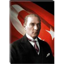 Kanvas Atatürk Tablosu Bayraklı Renkli Atatürk Portresi Atatrap27d