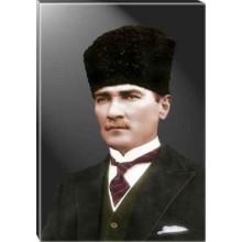 Kanvas Sivil Kalpaklı Atatürk Tablosu Renkli Atatürk Portresi Atatrap31d