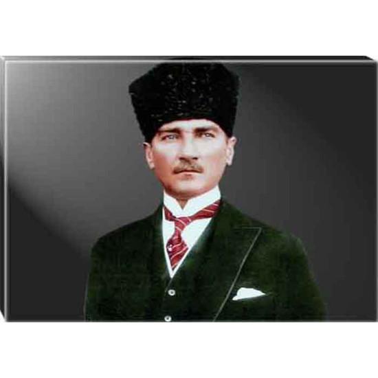 Kanvas Sivil Kalpaklı Atatürk Tablosu Renkli Atatürk Portresi Atatrap32y