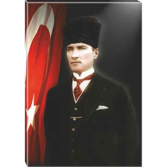 Kanvas Sivil Kalpaklı Atatürk Tablosu Bayraklı Renkli Atatürk Portresi Atatrap33d