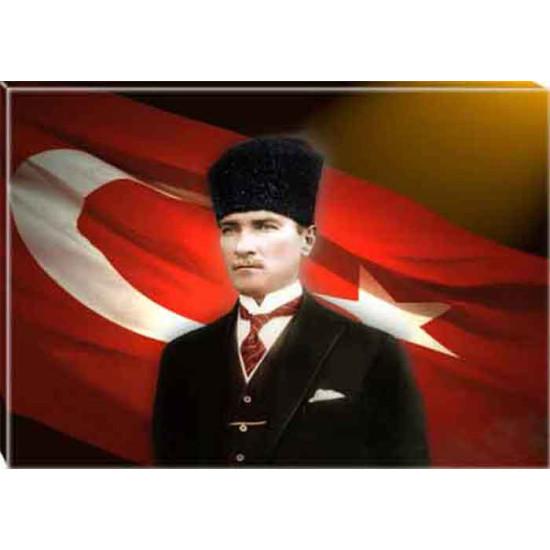 Kanvas Sivil Kalpaklı Atatürk Tablosu Bayraklı Renkli Atatürk Portresi Atatrap34y