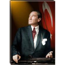 Kanvas Göğe Bakan Kravatlı Atatürk Tablosu Bayraklı Renkli Atatürk Portresi Atatrap35d
