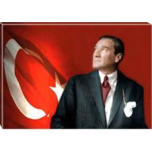 Kanvas Göğe Bakan Kravatlı Atatürk Tablosu Bayraklı Renkli Atatürk Portresi Atatrap36y