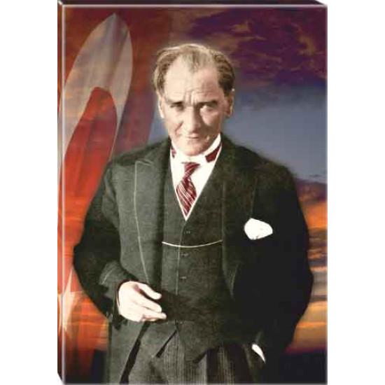 Kanvas Atatürk Tablosu Bayraklı Renkli Atatürk Portresi Atatrap37d