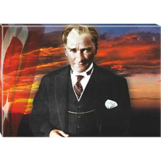 Kanvas Atatürk Tablosu Bayraklı Renkli Atatürk Portresi Atatrap38y