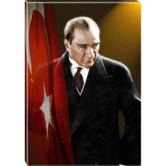 Kanvas Atatürk Tablosu Bayraklı Renkli Atatürk Portresi Atatrap41d