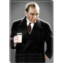 Kanvas Rakı Diye İftira Atılan Ayran İçen Atatürk Tablosu Renkli Atatürk Portresi Atatrap43d