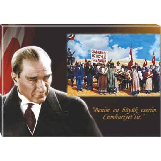 Kanvas Atatürk ve Cumhuriyeti Biz Böyle Kazandık Tablosu Bayraklı Renkli Atatürk Portresi Atatrap44y
