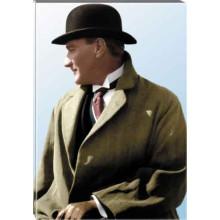 Kanvas Melon Şapkalı Atatürk Tablosu Yandan Renkli Atatürk Profil Portresi Atatrap53d
