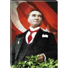 Kanvas Göğe Bakan Kravatlı Atatürk Tablosu Bayraklı Renkli Atatürk Portresi Atatrap55d