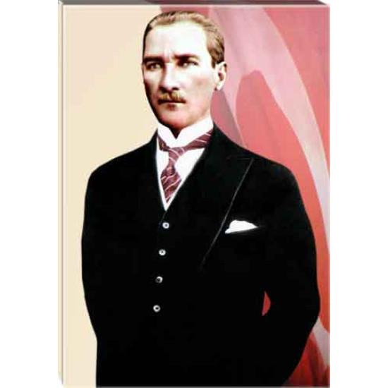 Kanvas Atatürk Tablosu Bayraklı Renkli Atatürk Portresi Atatrap56d
