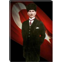 Kanvas Sivil Kalpaklı Atatürk Tablosu Bayraklı Renkli Atatürk Portresi Atatrap57d
