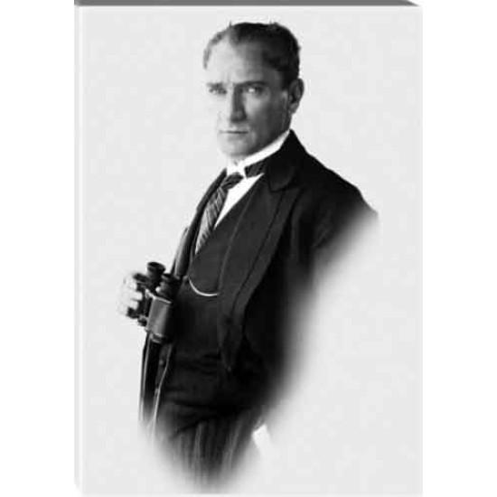 Kanvas Dürbünlü Atatürk Tablosu Siyah-Beyaz Atatürk Portresi Atatrap58d