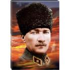 Kanvas Üniformalı Asker Kalpaklı Atatürk Tablosu Bayraklı Renkli Atatürk Portresi Atatrap61d