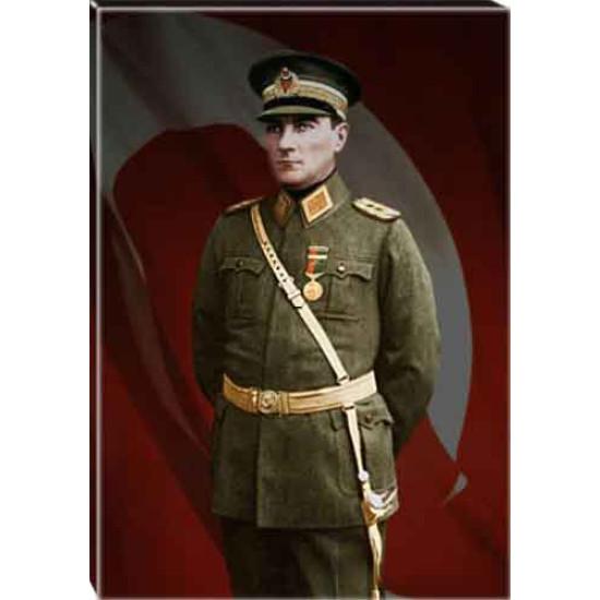 Kanvas Üniformalı Asker Atatürk Tablosu Bayraklı Renkli Atatürk Portresi Atatrap62d