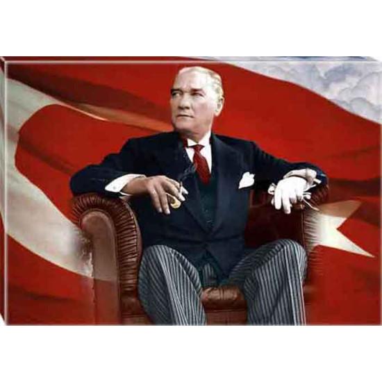 Kanvas Atatürk Tablosu Bayraklı Renkli Atatürk Portresi Atatrap63y