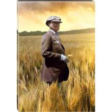 Kanvas Tarlada Buğday Başakları Arasında Çiftçi Atatürk Tablosu Renkli Atatürk Portresi Atatrap65d