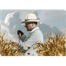 Kanvas Tarlada Buğday Başakları Arasında Çiftçi Atatürk Tablosu Yandan Renkli Atatürk Profil Portresi Atatrap66y