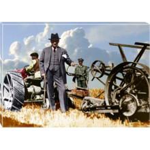 Kanvas Tarlada Traktör Başında Çiftçi Atatürk Tablosu Renkli Atatürk Portresi Atatrap67y