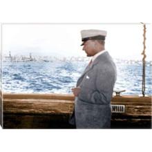 Kanvas Denizde Yatta Kaptan Atatürk Tablosu Yandan Renkli Atatürk Profil Portresi Atatrap68y
