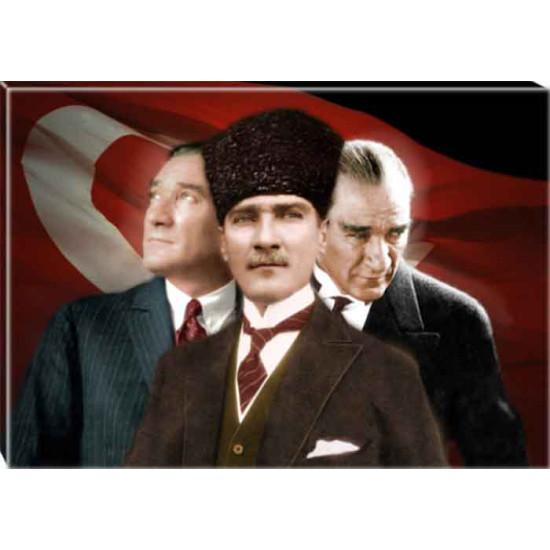 Kanvas Yanyana Üç Atatürk Tablosu Bayraklı Renkli Atatürk Portresi Atatrap70y