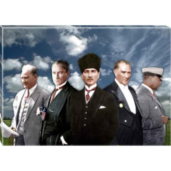 Kanvas Yanyana Beş Atatürk Tablosu Renkli Atatürk Portresi Atatrap71y