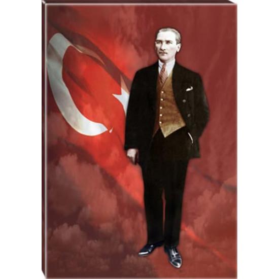 Kanvas Ayakta Atatürk Tablosu Boydan Bayraklı Renkli Atatürk Portresi Atatrap81d