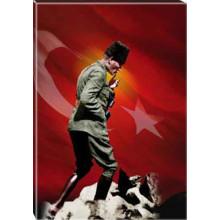 Kanvas Kocatepe Sırtlarında Gezinirken Düşünen Atatürk Tablosu Boydan Bayraklı Renkli Atatürk Portresi Atatrap85d