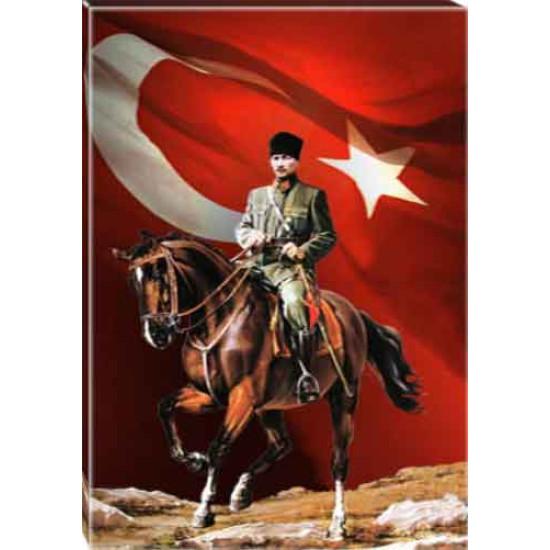 Kanvas At Üstünde Atatürk Tablosu Bayraklı Renkli Atatürk Portresi Atatrap86d