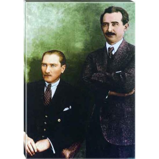 Kanvas Atatürk ve İsmet İnönü Tablosu Renkli Atatürk Portresi Atatrap97d