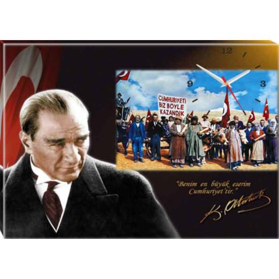 Kanvas Duvar Saati Atatürk ve Cumhuriyeti Biz Böyle Kazandık Tablosu Saatli Tablo Atadstap44y