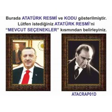 AKP Cumhurbaşkanı Recep Tayyip Erdoğan ve Atatürk Resmi Çerçeveli Resim İkili Set (2 Resim) AKPCR21R2D