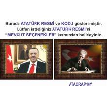 AKP Cumhurbaşkanı Recep Tayyip Erdoğan ve Atatürk Resmi Çerçeveli Resim İkili Set (2 Resim) 45x32-70x50-100x70-150x100cm AKPCR21R2Y
