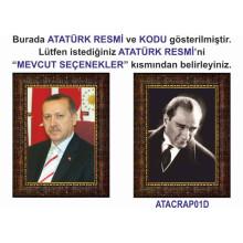 AKP Cumhurbaşkanı Recep Tayyip Erdoğan ve Atatürk Resmi Çerçeveli Resim İkili Set (2 Resim) AKPCR22R2D