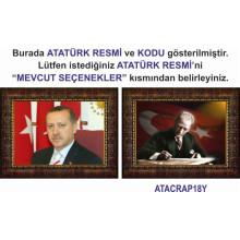 AKP Cumhurbaşkanı Recep Tayyip Erdoğan ve Atatürk Resmi Çerçeveli Resim İkili Set (2 Resim) 45x32-70x50-100x70-150x100cm AKPCR22R2Y