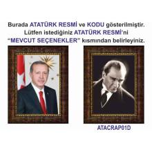 AKP Cumhurbaşkanı Recep Tayyip Erdoğan ve Atatürk Resmi Çerçeveli Resim İkili Set (2 Resim) 32x45-50x70-70x100-100x150cm AKPCR23R2D