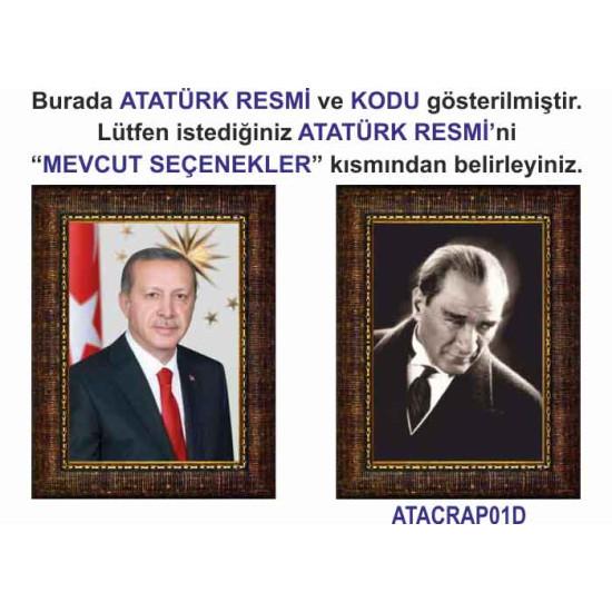 Akp Çerçeveli Resim Cumhurbaşkanı Erdoğan ve Atatürk Resmi İkili Set Akpcr23r2d